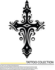 Editable illustration of an ornate tribal cross tattoo