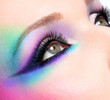Woman eyes with beautiful  fashion bright blue makeup