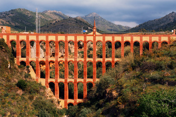 Aqueduct named El Puente del Aguila in Nerja, Andalusia, Spain