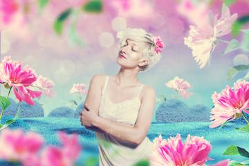 beautiful woman in fairy garden