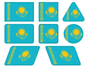 set of buttons with flag of Kazakhstan