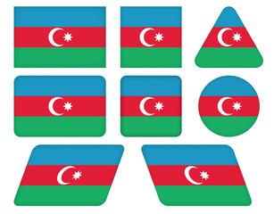 set of buttons with flag of Azerbaijan