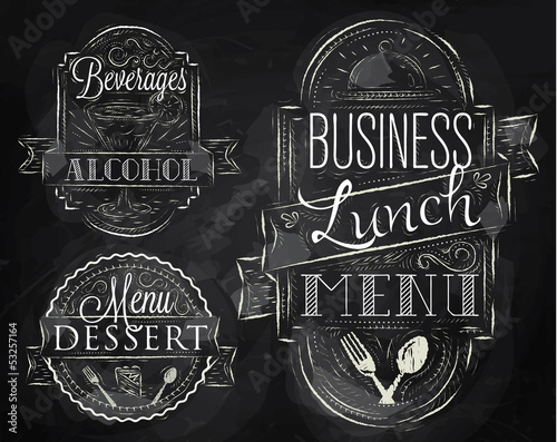 Elements on the theme of the restaurant business lunch