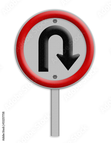 U - Tune left traffic sign on white background, Part of a series