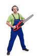 Male lumberyard worker with chainsaw
