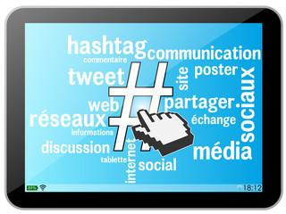 Tablette Hashtag Nuage de mots