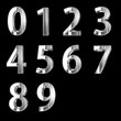 Silver 3D numbers isolated on black with clipping path