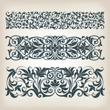 vintage set border frame ornate  scroll calligraphy vector