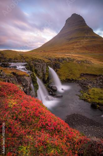Fototapeten,island,wasserfall,sunrise,landschaft