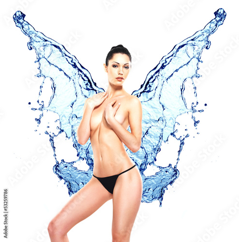 Beautiful woman body with water splash of butterfly