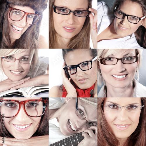 Brillen Collage mit Frauen