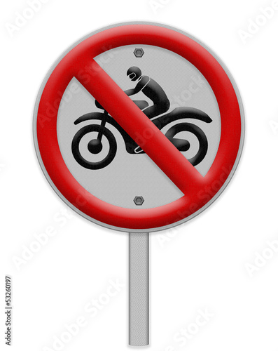 No motorcycle sign, isolated no bikes allowed prohibition zone ,