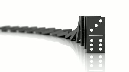 Effet domino sur fond blanc 1