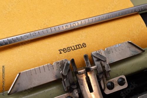 Resume text on typewriter