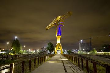 Grue titan sur l'île de Nantes de nuit 4