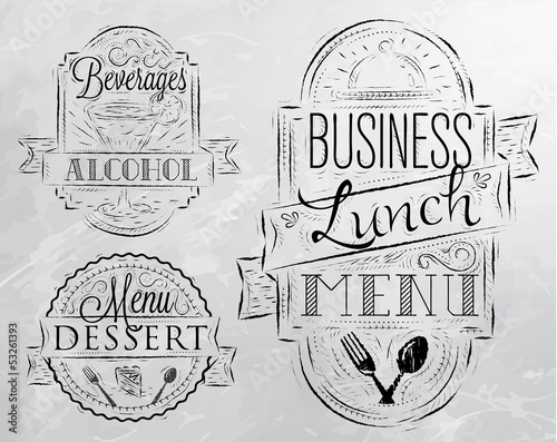 Elements on the theme of the restaurant business lunc