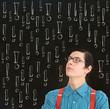 Nerd geek businessman student teacher chalk exclamation marks