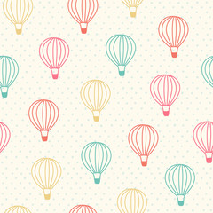 Seamless color hot air balloon pattern