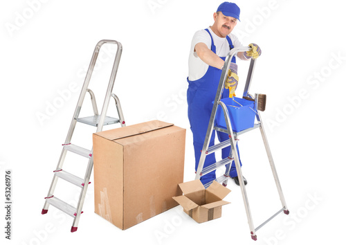 house painter ladders and cardboard boxes
