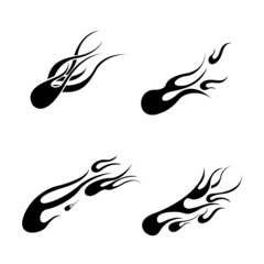 set of black tattoos in the form of tongues of fire