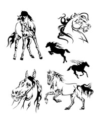set of black and white tattoos in the shape of a horse