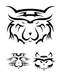 set of black and white tattoos in the form of a wild cat