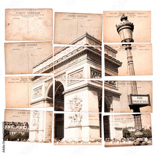 Arc de Triomphe, mosaïque de cartes postales