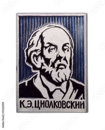 Soviet badge with Tsiolkovsky