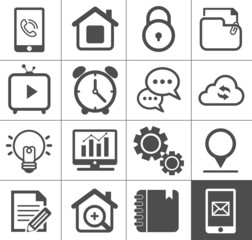 Media and communication outline icon set