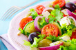 Healthy fresh salad with feta cheese