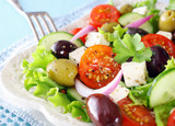 Delicious Greek salad with feta cheese