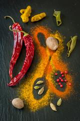 Spices: chili, turmeric, cardamom, nutmeg and lemon grass.