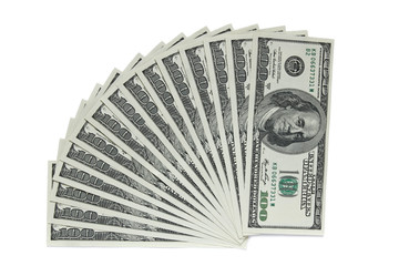 one hundred dollar banknotes on white background