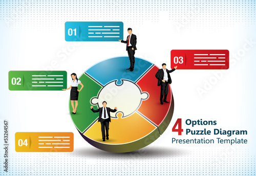 Four sided puzzle presentation template