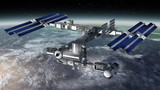Space station modular satellite with solar panels poster