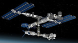 Space station, modular satellite with solar panels poster