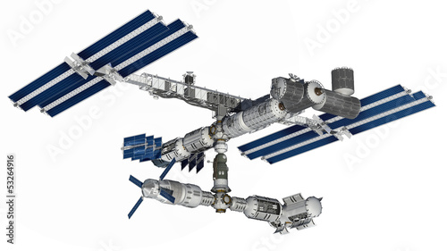 Space station with isolation path on white