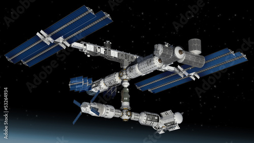 Space station, modular satellite with solar panels