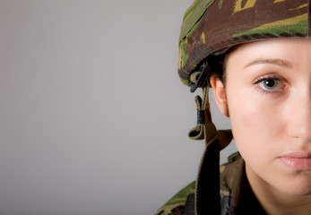 Half Face Army Girl Portrait