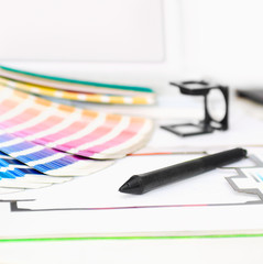 Graphic design and printing, computer, with other elements