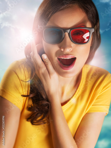 Portrait of happy woman with stereo glasses