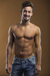 Shirtless male smiling
