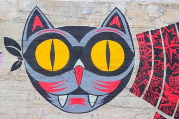Graffiti einer Katze auf der Insel von Nantes - Ile de Nantes