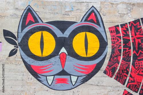 Sticker Graffiti einer Katze auf der Insel von Nantes - Ile de Nantes
