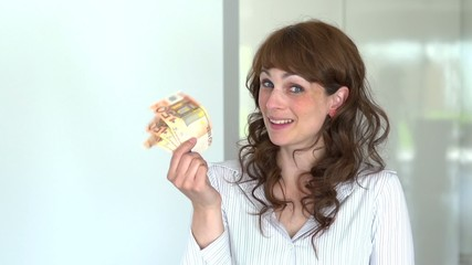 teasing young women with fifty euro bills