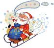 santa riding on sledge