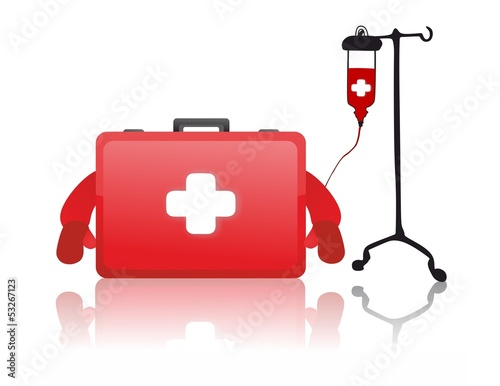 Red first aid kit and blood transfusion