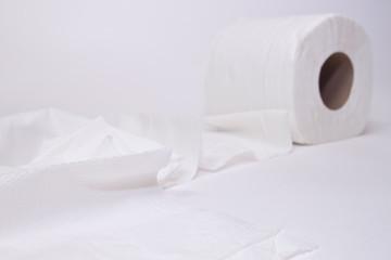 Toilet paper  on white background.