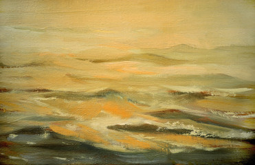 sea landscape with cloud,  illustration, painting by oil on canv