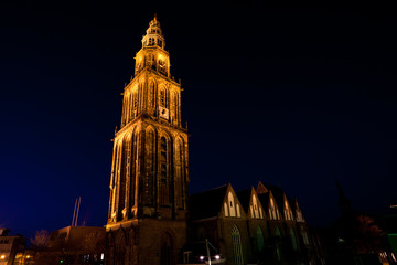 famous Martinitoren (Martini tower) in Groningen at night